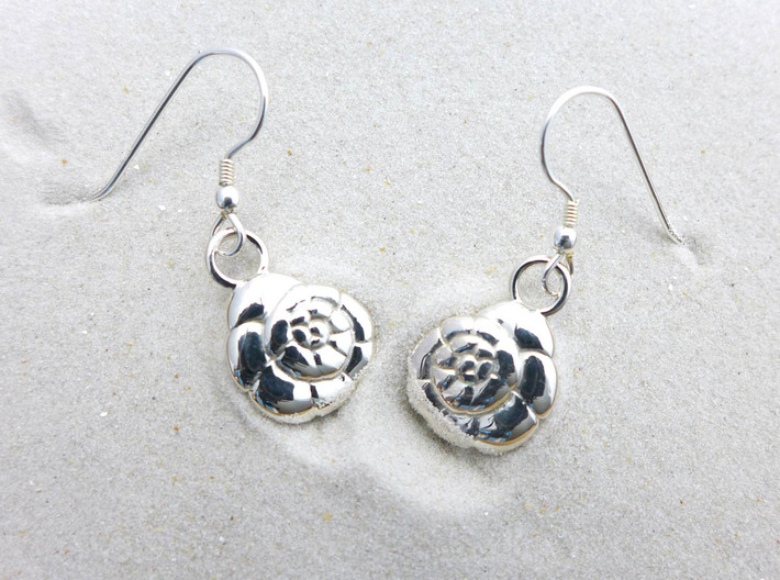 Ammonia tepida Earrings - Science Jewelry 3d printed Ammonia tepida earrings in polished silver