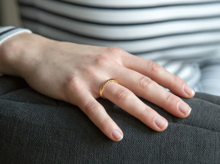 archetype - wedding ring 3d printed pictured material: 14 k gold