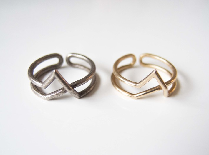 Continuous Geometric Ring  3d printed Stainless steel and Polished Bronze