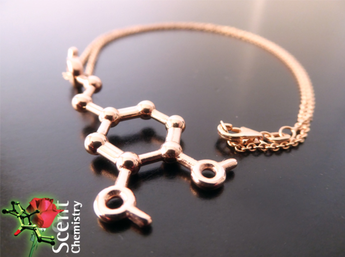 Dopamine 3d printed 14k Rose-gold plated dopamine pendant on an Oro Vivo 7612690465149 necklace.