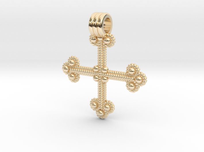 Twisted Wire Cross Pendant 3d printed