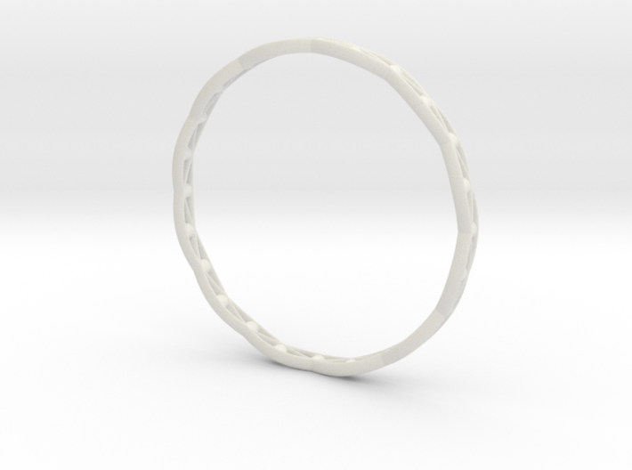 Stylish Bracelet in Metal, Sandstone and more.... 3d printed Bracelet 3D printed in White Strong & Flexible: White nylon plastic with a matte finish and slight grainy feel.