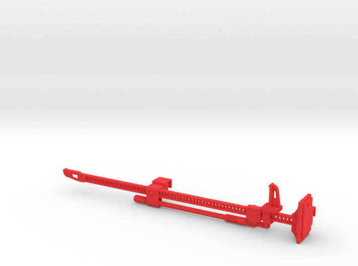 FR10022 Jack and Bracket - RED 3d printed Part as it comes from Shapeways