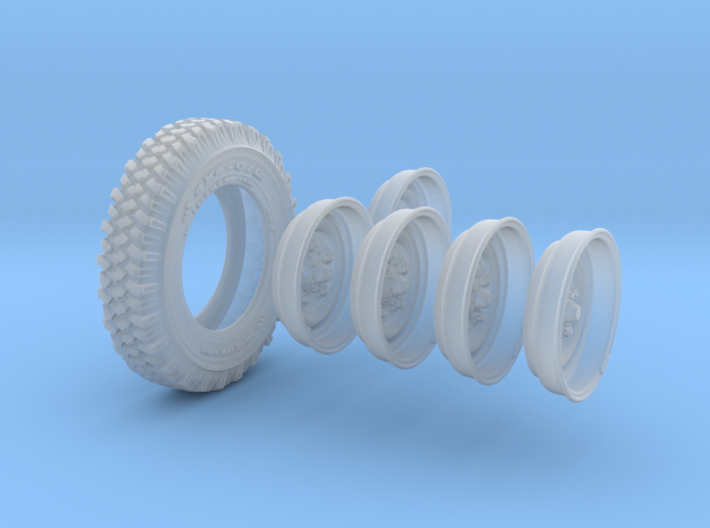 1-24 Land Rover 750x16 Tire And Wheels Set2 3d printed