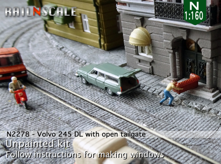Volvo 245 DL with open tailgate (N 1:160) 3d printed