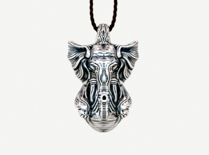 The Sleeping Elephant Pendant 3d printed antique silver