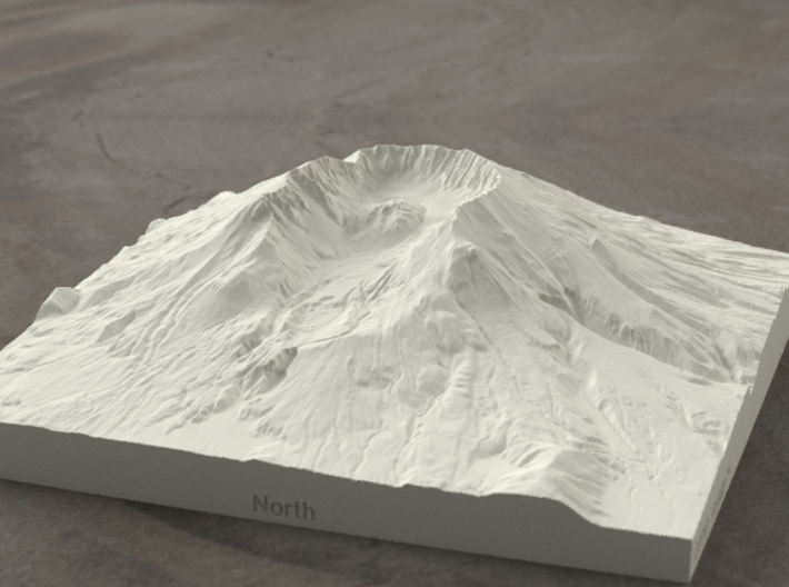 6'' Mt. St. Helens, Washington, USA, Sandstone 3d printed Radiance rendering of model from north