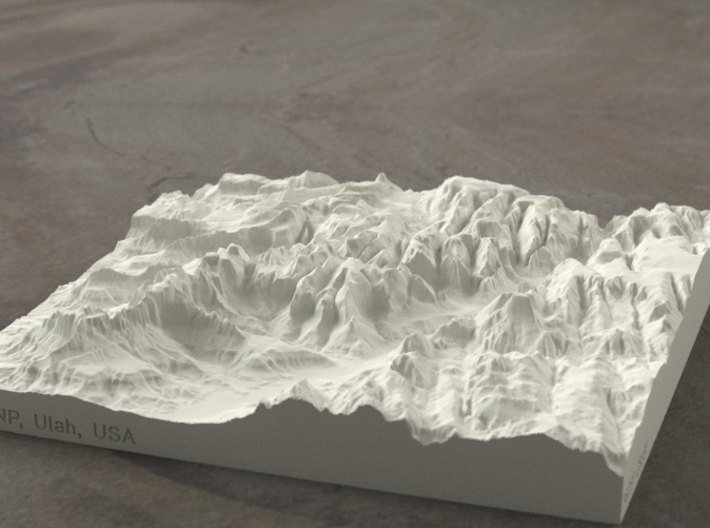 6'' Zion Canyon, Utah, USA, Sandstone 3d printed Radiance rendering of Zion Canyon model from the south