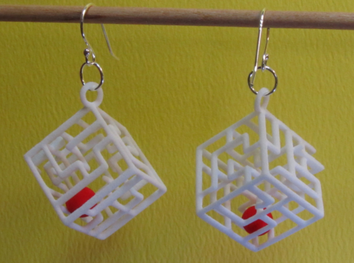3D Maze Cube Earrings with Rolling Ball 3d printed