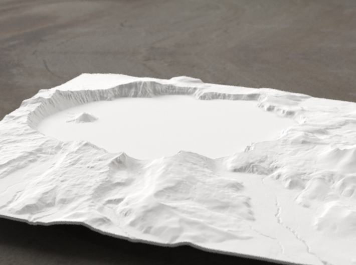 8'' Crater Lake, Oregon, USA 3d printed Radiance rendering of model, viewed from the south.
