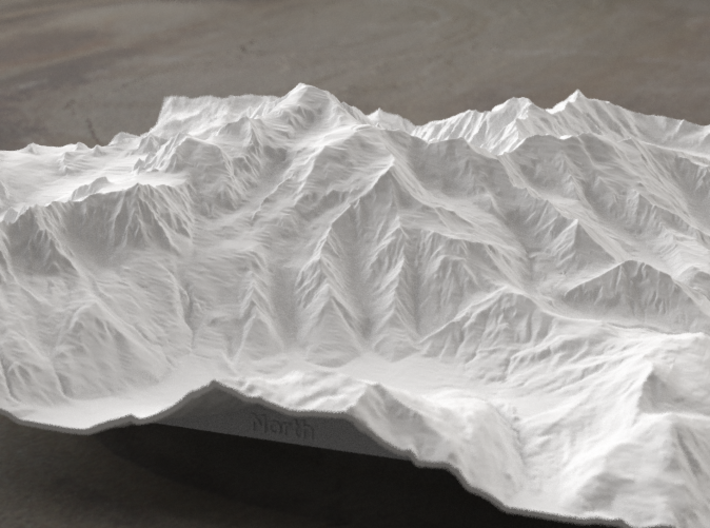 8''/20cm Mt. Blanc, France/Italy 3d printed Radiance rendering of model, viewed from the north.