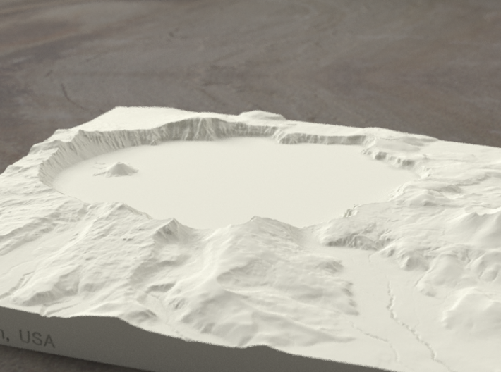 8'' Crater Lake, Oregon, USA, Sandstone 3d printed Radiance rendering of model, viewed from the south.