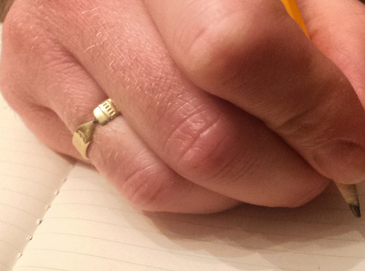 Pencil Ring, Size 8 3d printed Raw brass