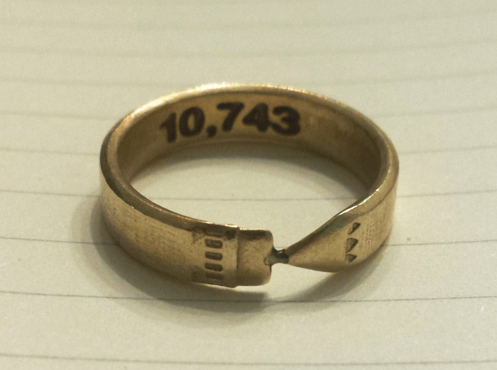 Pencil Ring, Size 8.5 3d printed Raw brass, customized on the inside of the band with a word-count.