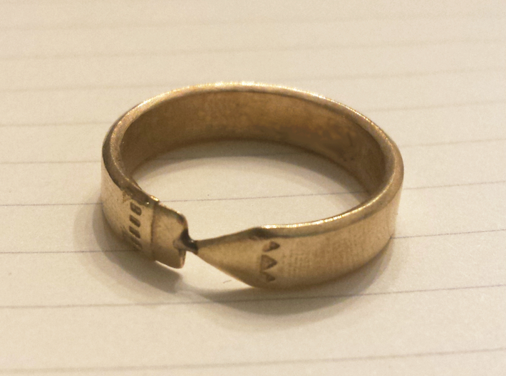 Pencil Ring, Size 10.5 3d printed Raw brass