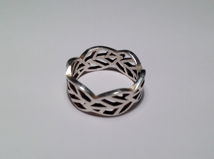 Leaf ring 3d printed Polished silver