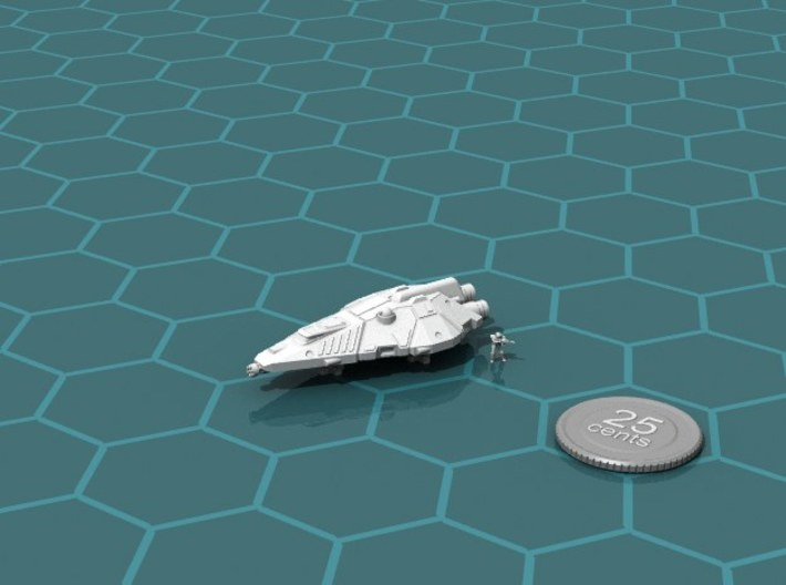 Terran Fighter 3d printed Render of the model, with a virtual quarter for scale.