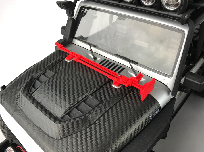AJ10050 Jack and Hood Mount - RED 3d printed Shown in RED mounted to hood of Axial JK (sold separately)