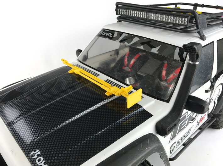 AJ10050 Jack and Hood Mount - RED 3d printed Shown in YELLOW mounted to hood of Axial XJ (sold separately)