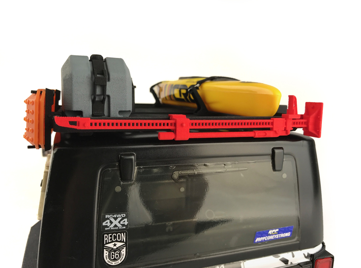FR10023 Jack and Bracket - YELLOW 3d printed Shown in RED  mounted to Slimline II rack on a Axial JK (sold separately)