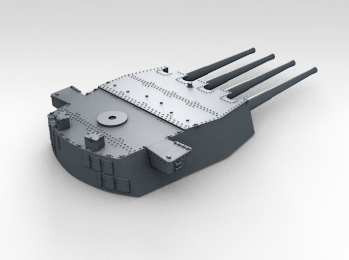 "1/700 HMS Prince of Wales 14"" Turrets 1941 3d printed 3d render showing product detail (X Turret)"