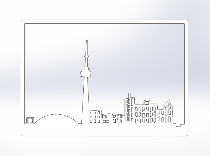 Toronto Skyline - 8 X 11.5 (L) 3d printed White Front