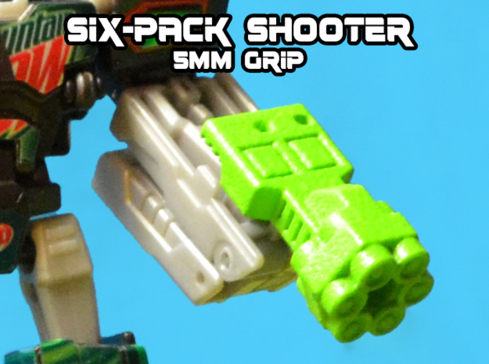 6-Pack Shooter, 5mm 3d printed White strong and flexible gun, hand painted