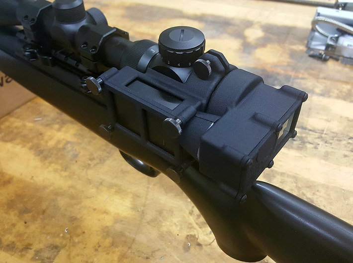 Mobius 2 Scope camera mount PUNISHER 3d printed Mounted to Matrix 3x9-50mm Scope