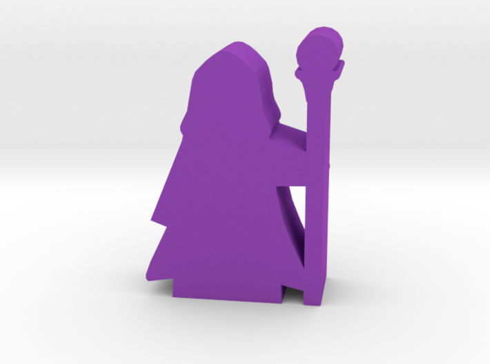 Game Piece, Wizard in Hooded Robe, Staff 3d printed