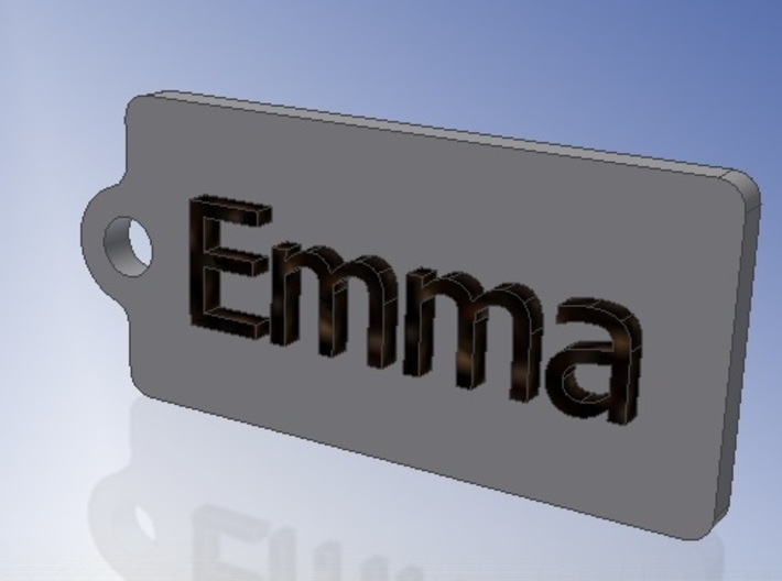 Name Tag Emma Key chain Fob Zipper Tag 2x1x02in 3d printed CAD Render