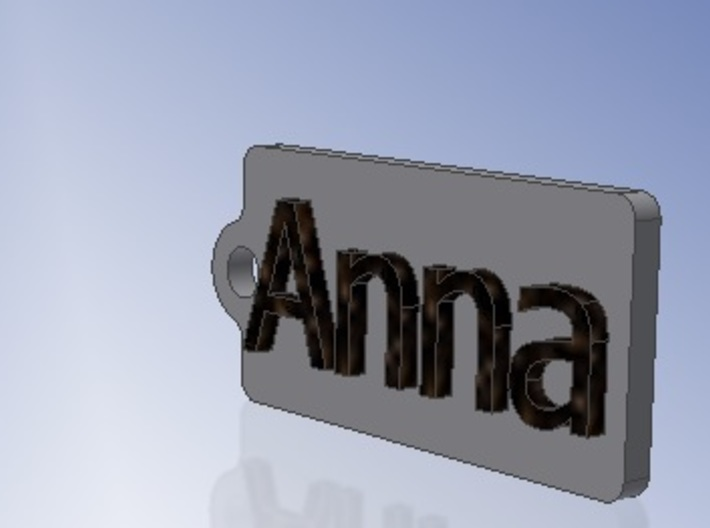 Name Tag Anna Key chain Fob Zipper Tag 2x1x02in 3d printed CAD Render