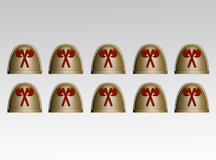 Crossed Axes V.7 Shoulder Pads x10 3d printed Product is sold unpainted.