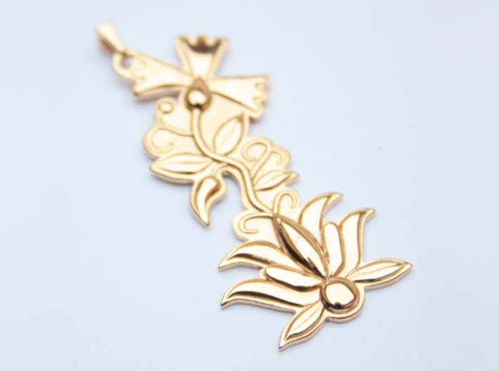 Kashubian Pendant 3d printed polished bronze