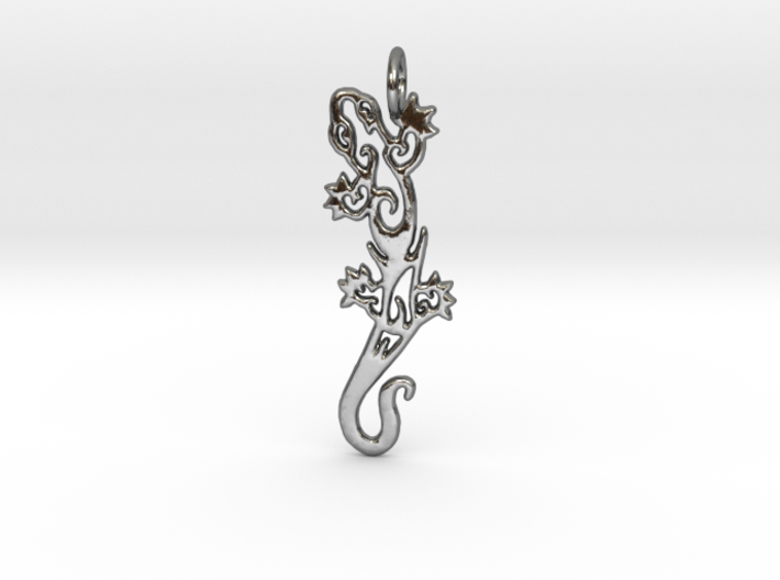 Gecko pendant - tribal tattoo style 3d printed