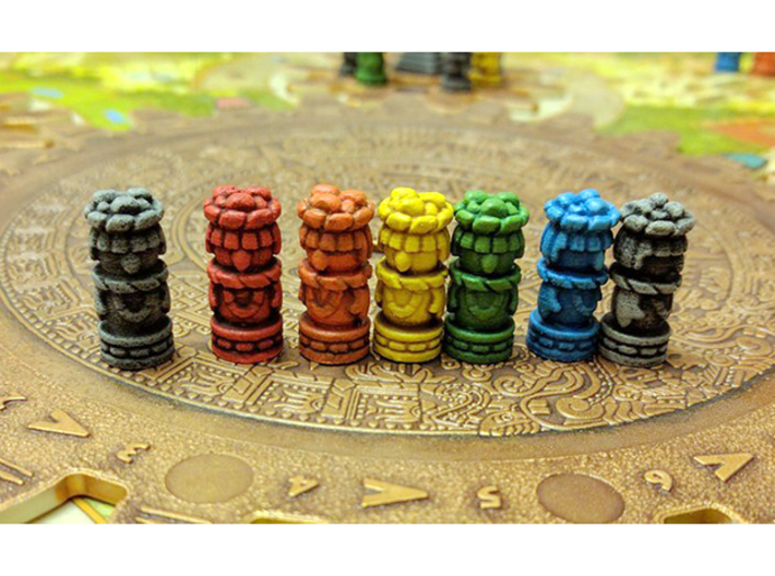 Mayan Worker Tokens (24-30 pcs) 3d printed Hand-painted. Pic courtesy of user LunaWolvesMan @ BGG. Game board copyright Czech Games / Iello.