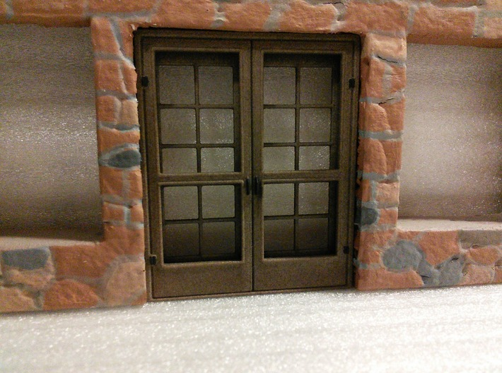 Door, French with Screen Doors, 68in X 82in 3d printed Printed in White Plastic and then colored brown using Rit dye.