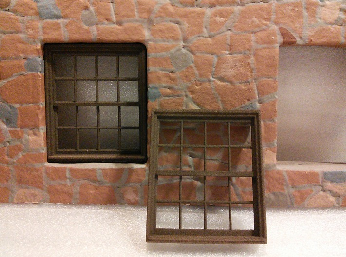 Window, 52in X 60in, 16 Panes, x2 3d printed Printed in White Plastic and then colored brown using Rit dye.