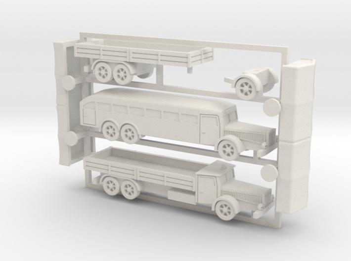 German Vomag Bus, Truck & Trailer 1/144 3d printed