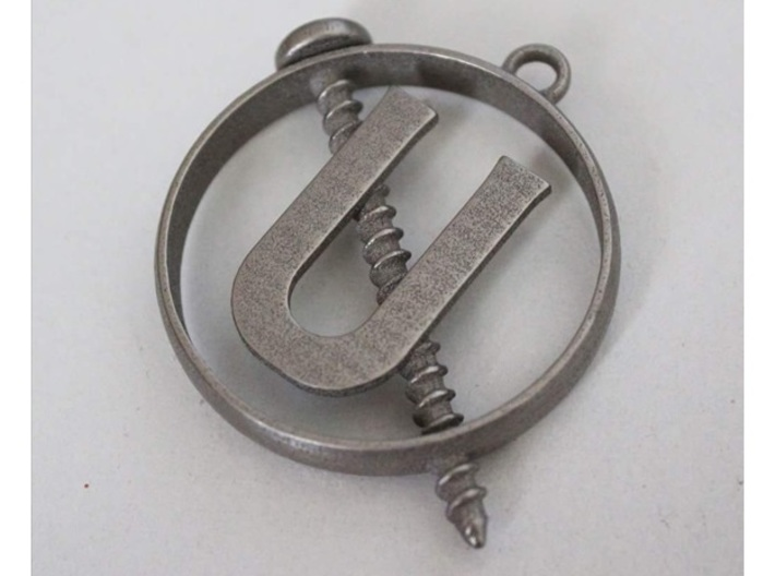 Ghostbusters - Holtzmann Screw U Necklace 3d printed This is the Polished Nickel Steel