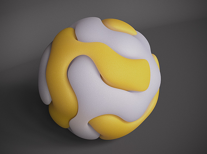 Gyroid Double Sphere 3d printed White Strong and Flexible and Yellow Strong And Flexible shown here for contrast.