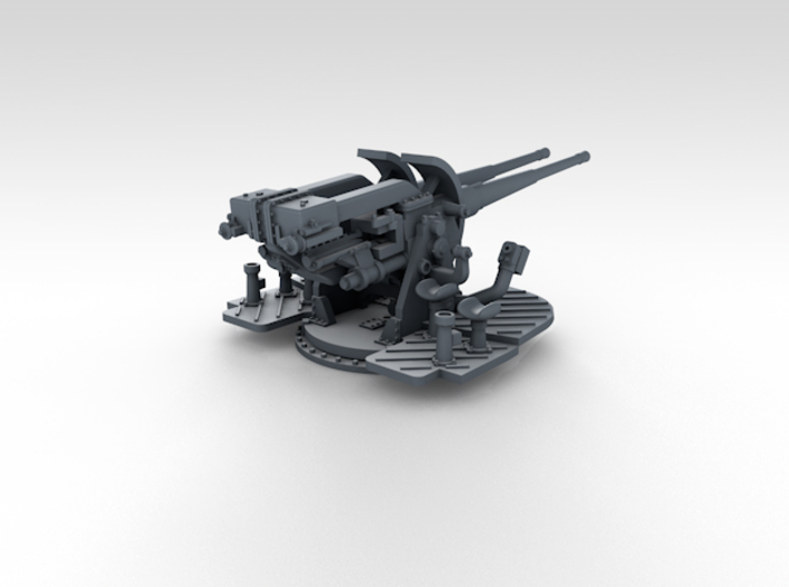 """1/350 4.7"""" MKXII CPXIX Twin Mount x4 3d printed 3d render showing gun mount detail"""
