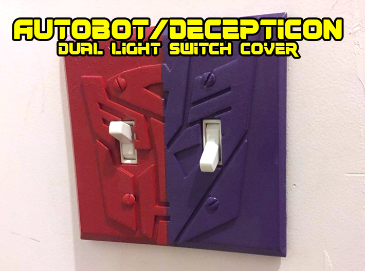 Transformers Faction Symbol Dual Switch Plate 3d printed white, strong and flexible print, painted with spraypaint