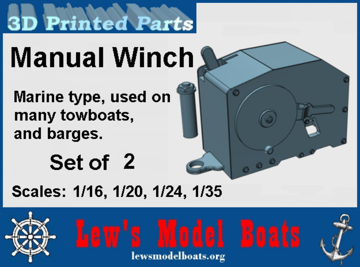 Manual Marine Winch: 1/16, 1/20. 1/24, 1/35 scales 3d printed