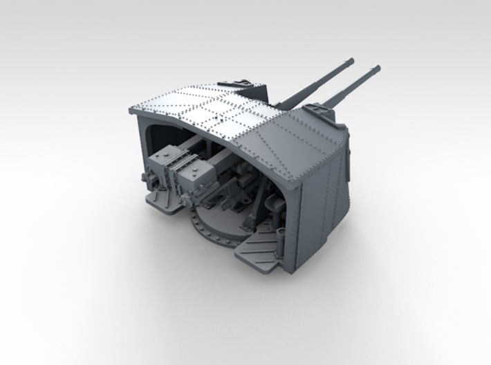"1/500 4.7"" MKXII CPXIX Twin Mount x4 3d printed 3d render showing product detail"