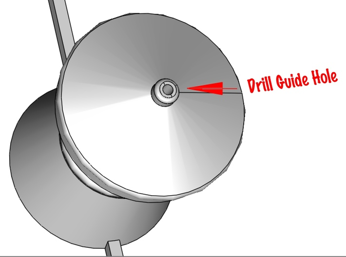 QR Vent Curved Roof X 6 3d printed This image shows the drill guide hole location for the dressmakers pin spire.