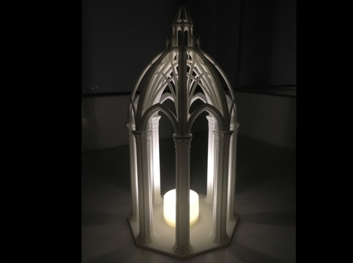 Gothic Chapel 3 Upper 3d printed Chapel lit with LED candle