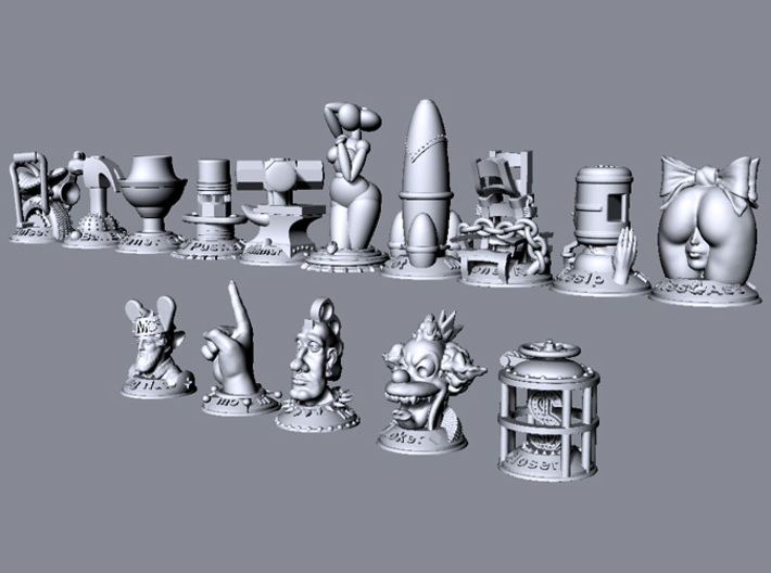 Gossip  3d printed This image shows the relative size of all models in the collection.