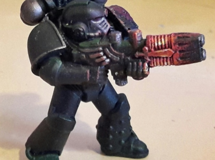 Plasma Repeating Shotgun 3d printed Space Marines shown for scale