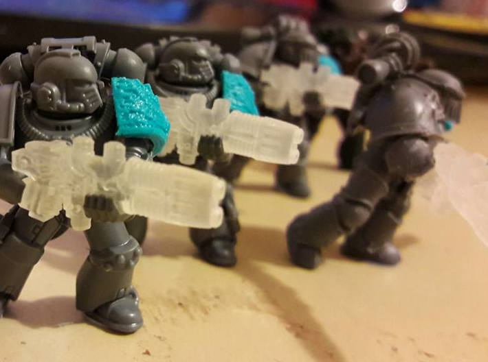 Plasma Repeating Shotgun Sprue X20 3d printed Space Marines shown for scale