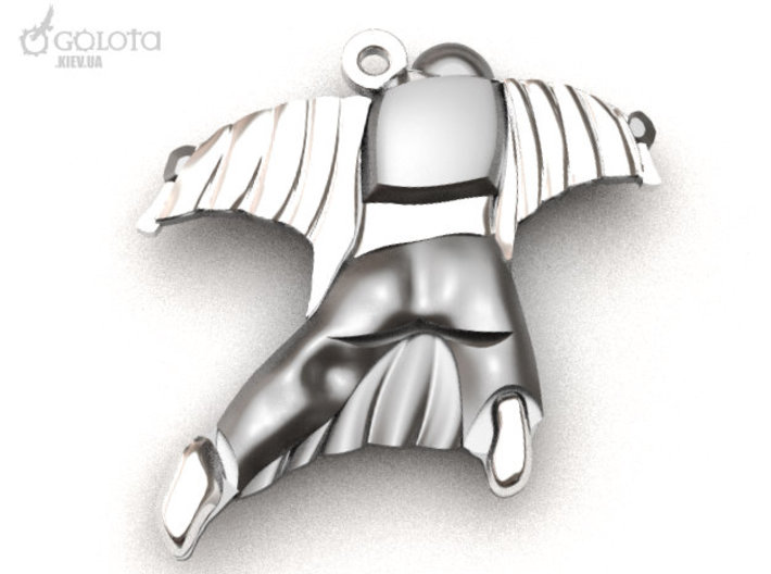 Wingsuit Keychain (and pendant) 3d printed  there remained only a parachute backpack